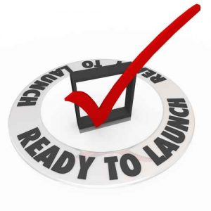 Ready To Launch Check Mark Box Words Prepared New Business