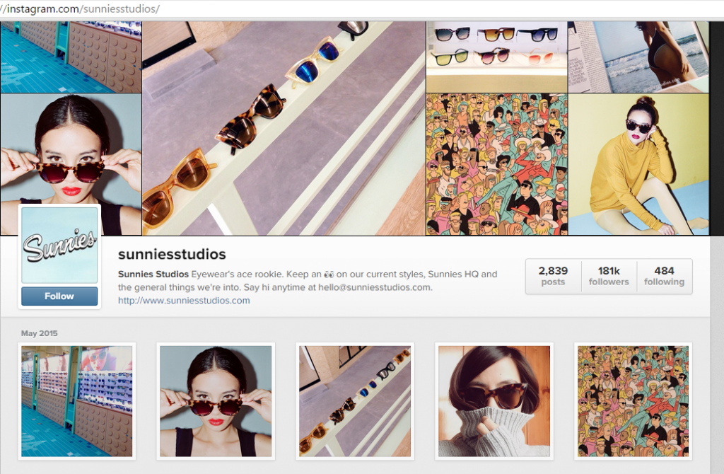 Screenshot of Sunnies on Instagram