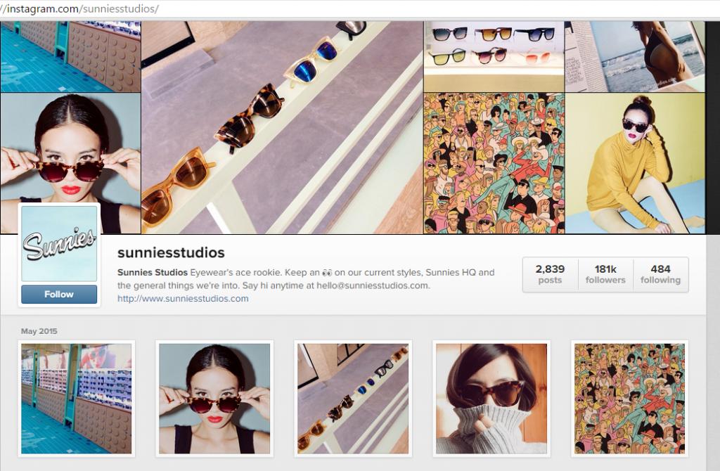 Screenshot of Sunnies on Instagram
