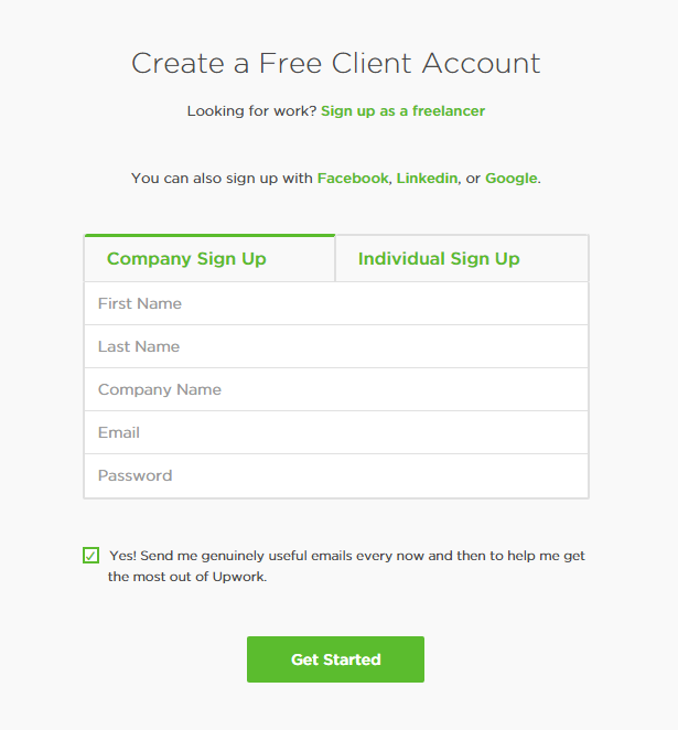 Hiring Freelancers in Upwork: Create an account