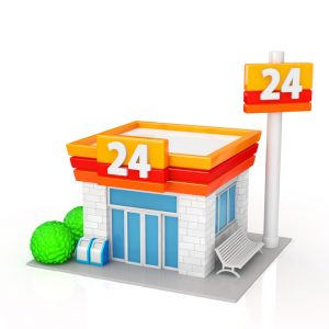 The convenience store on white background