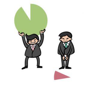 Businessmen holding pie chart