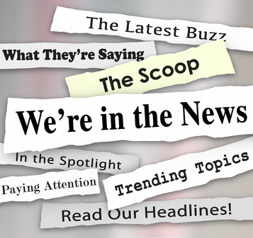 We're in the News Ripped Torn Newspaper Headlines Attention