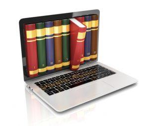 digital library - books inside computer