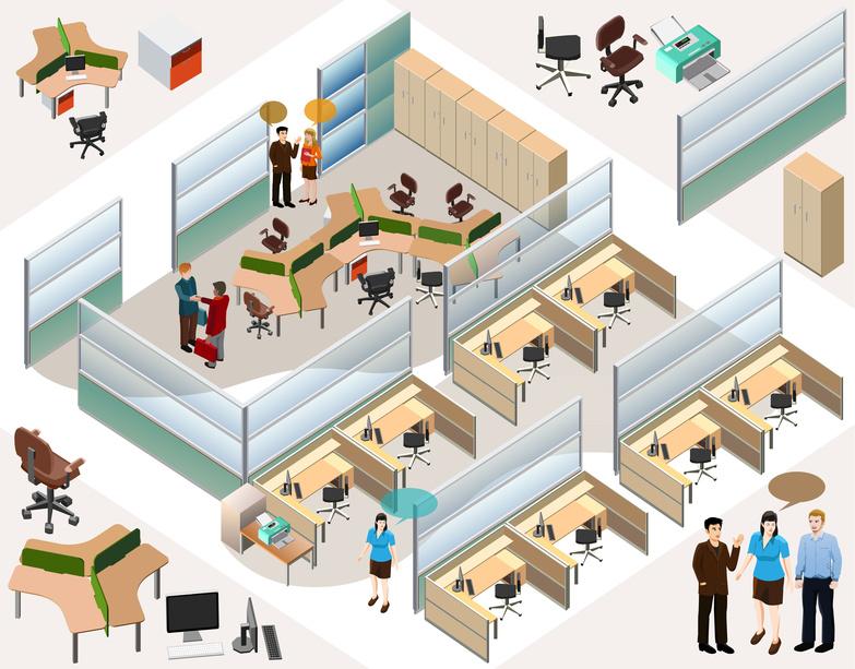 office isometric. detailed vector custom
