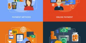 Payment design concept set with online mobile cash methods flat icons isolated  illustration