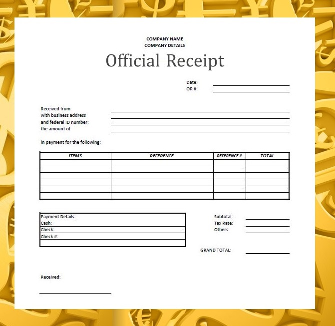 Forms Documents Needed for Proper Accounting Documentation – Receipt Document