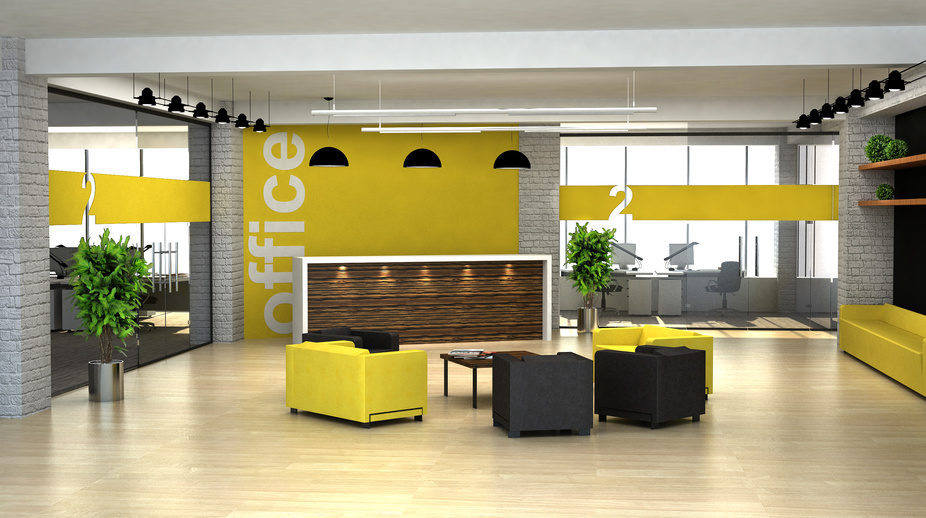 3d rendering an interior of the office. Hall with reception