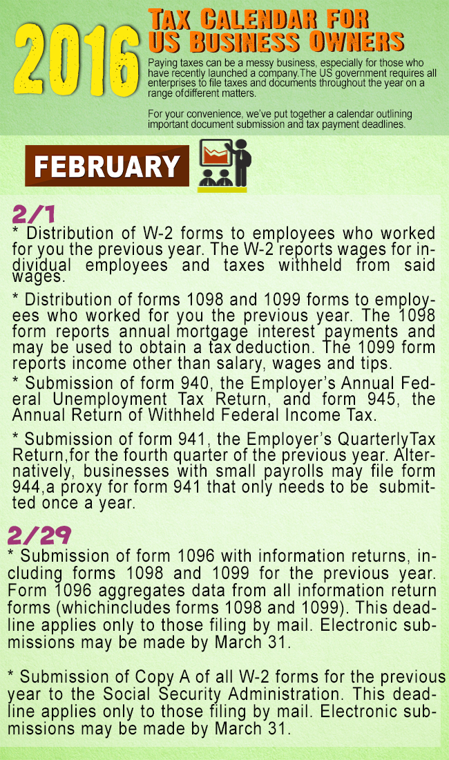 tax calendar for american business owners