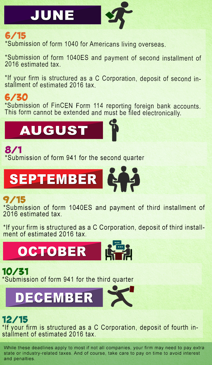 tax calendar for american business owners infographics